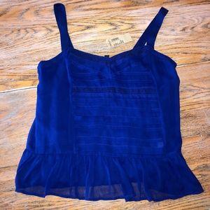 AMERICAN EAGLE silky blue ruffle cami/NWT/L